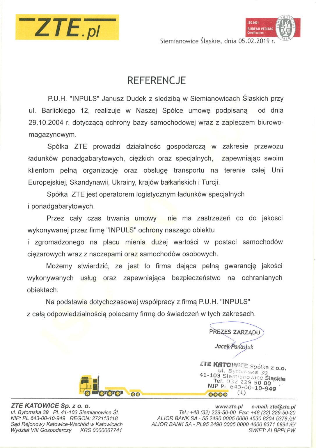 referencje inpuls monitoring i ochrona fizyczna